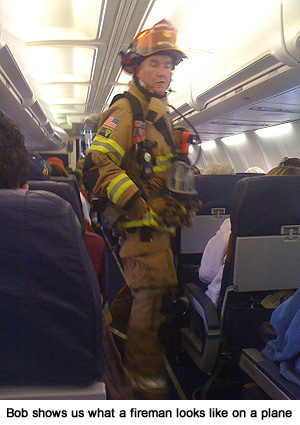Fireman on plane after emergency landing